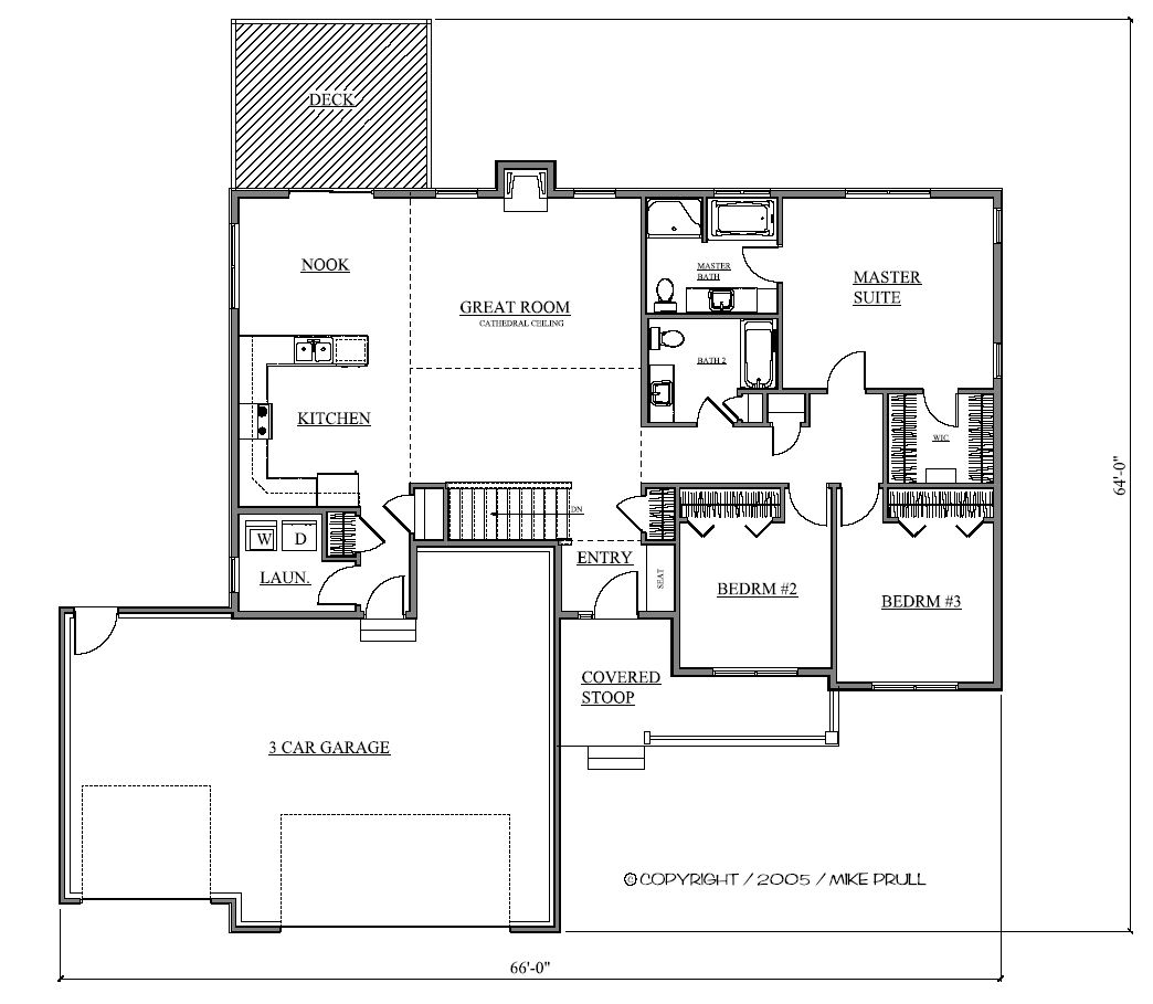 Custom home design ranch 3 bedrooms for Custom ranch home plans